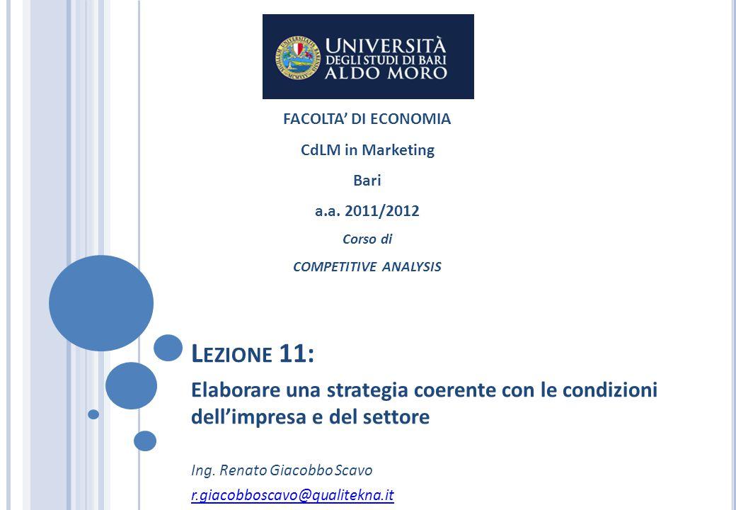 L EZIONE 11: Elaborare una strategia coerente con le condizioni dell'impresa e del settore Ing. Renato Giacobbo Scavo r.giacobboscavo@qualitekna.it FA