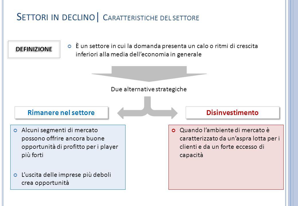 S ETTORI IN DECLINO | C ARATTERISTICHE DEL SETTORE È un settore in cui la domanda presenta un calo o ritmi di crescita inferiori alla media dell'econo