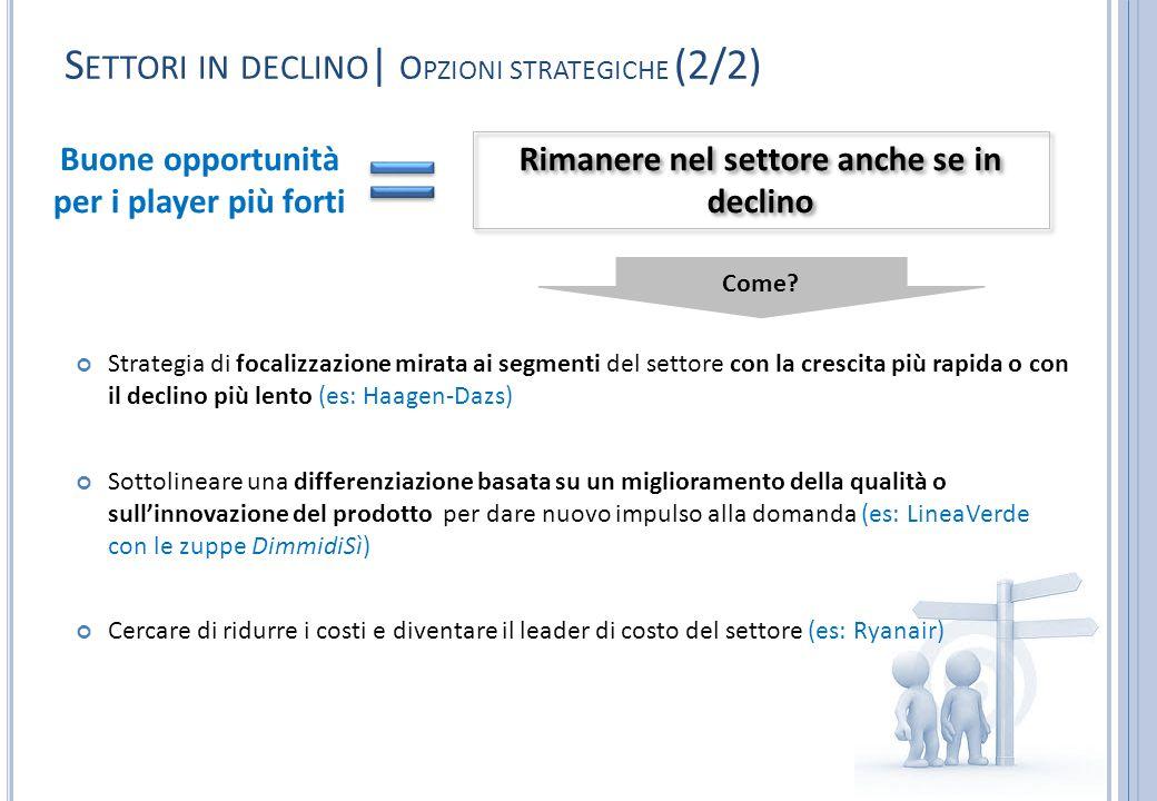 S ETTORI IN DECLINO | O PZIONI STRATEGICHE (2/2) Strategia di focalizzazione mirata ai segmenti del settore con la crescita più rapida o con il declin