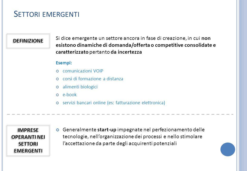 S ETTORI EMERGENTI Si dice emergente un settore ancora in fase di creazione, in cui non esistono dinamiche di domanda/offerta o competitive consolidat