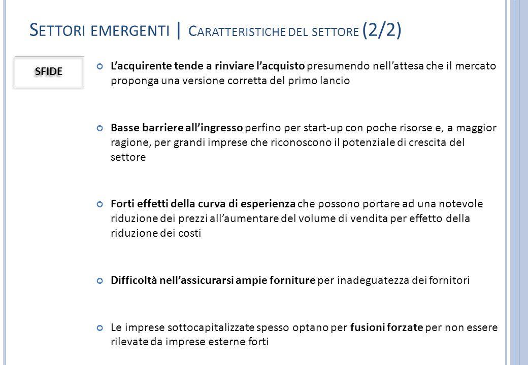S ETTORI EMERGENTI | C ARATTERISTICHE DEL SETTORE (2/2) SFIDE L'acquirente tende a rinviare l'acquisto presumendo nell'attesa che il mercato proponga