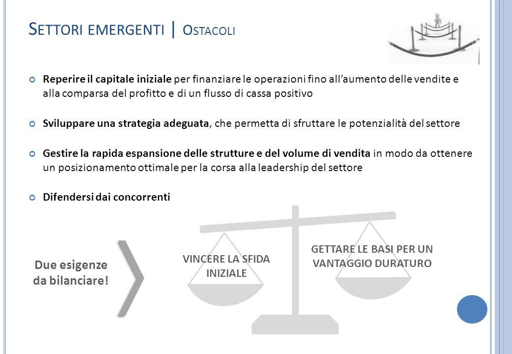 S ETTORI EMERGENTI | O STACOLI Reperire il capitale iniziale per finanziare le operazioni fino all'aumento delle vendite e alla comparsa del profitto