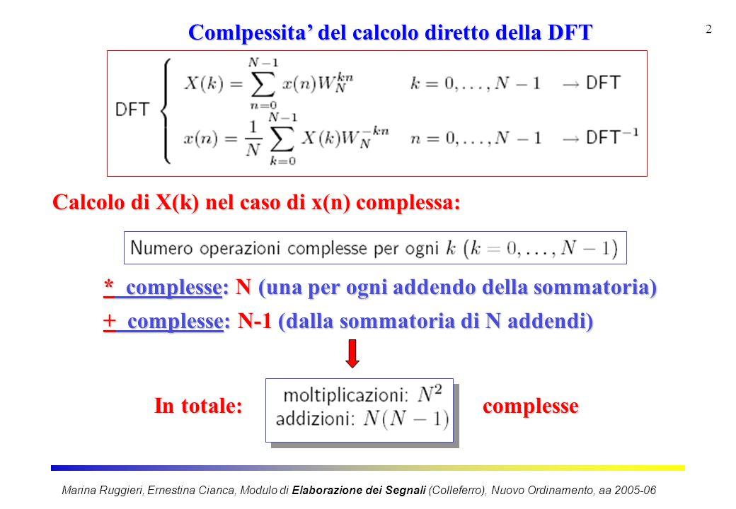 Marina Ruggieri, Ernestina Cianca, Modulo di Elaborazione dei Segnali (Colleferro), Nuovo Ordinamento, aa 2005-06 3 Comlpessita' del calcolo diretto della DFT 1 * complessa = 4 * reali e 2 + reali 1 + complessa = 2 + reali Tenendo conto che: In totale: N 2 * complesse = 4 N 2 * reali e 2N 2 + reali N(N-1) + complesse = 2N(N-1) + reali 4 N 2 * reali 2N 2 + 2(N 2 -N) = 4N 2 - 2N + reali