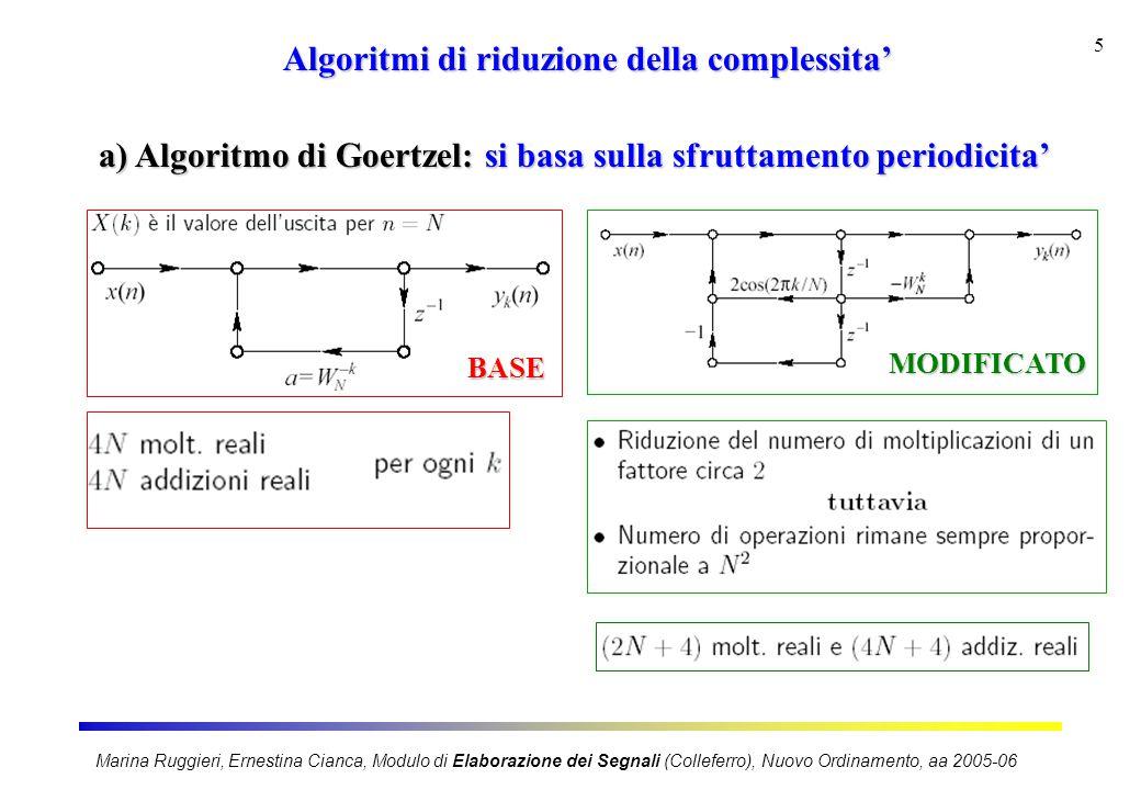 Marina Ruggieri, Ernestina Cianca, Modulo di Elaborazione dei Segnali (Colleferro), Nuovo Ordinamento, aa 2005-06 6 Algoritmi di riduzione della complessita' b) Metodo diretto per calcolo parziale in k