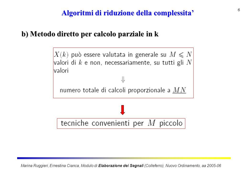 Marina Ruggieri, Ernestina Cianca, Modulo di Elaborazione dei Segnali (Colleferro), Nuovo Ordinamento, aa 2005-06 7 Algoritmi di riduzione della complessita' c) Algoritmi veloci: sfruttano simmetria e periodicita'