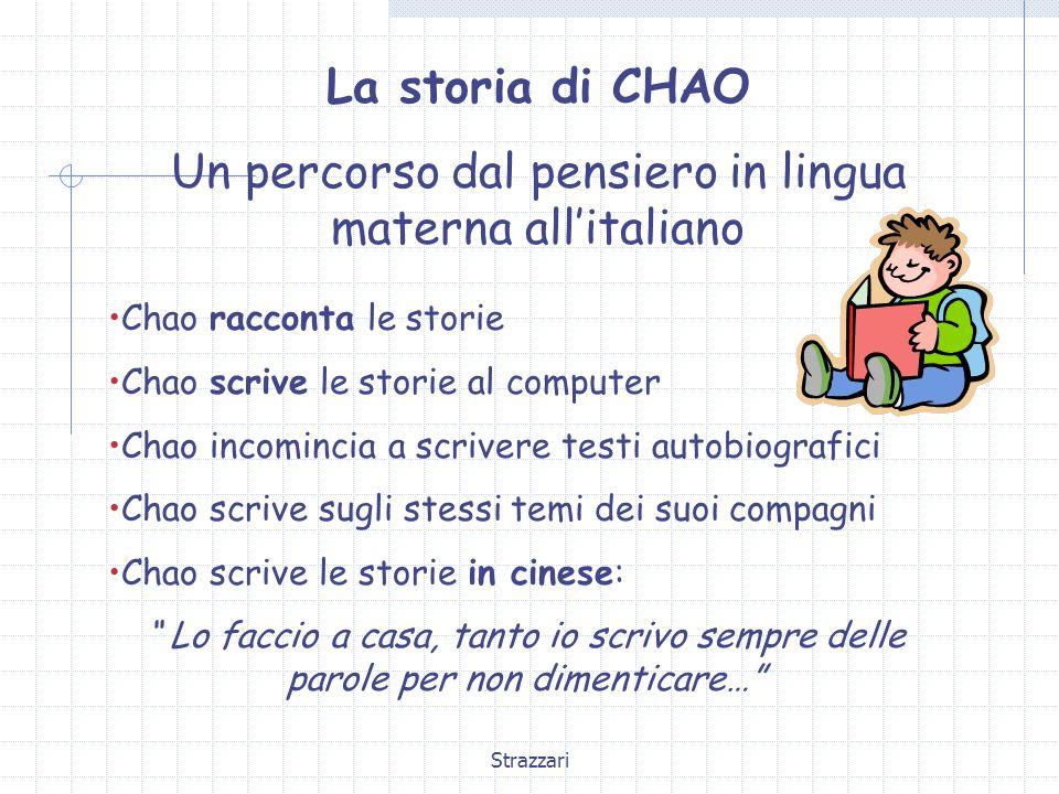 Strazzari La storia di CHAO Un percorso dal pensiero in lingua materna all'italiano Chao racconta le storie Chao scrive le storie al computer Chao inc