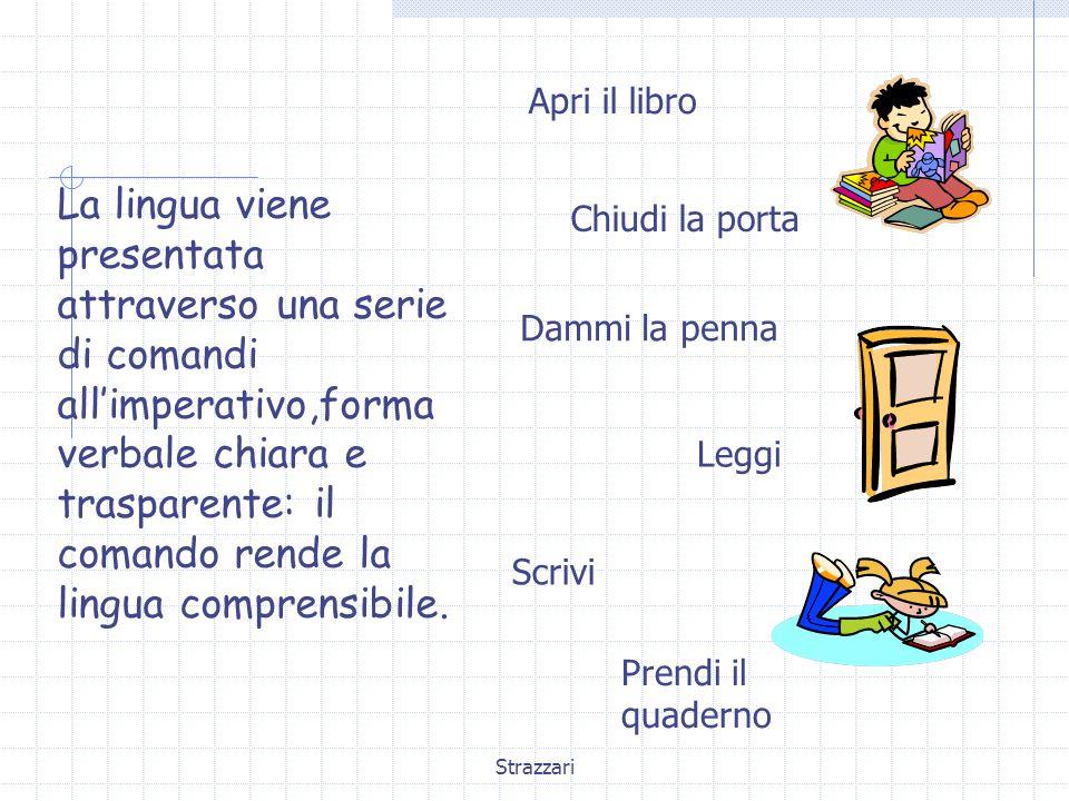 Strazzari La lingua viene presentata attraverso una serie di comandi all'imperativo,forma verbale chiara e trasparente: il comando rende la lingua comprensibile.