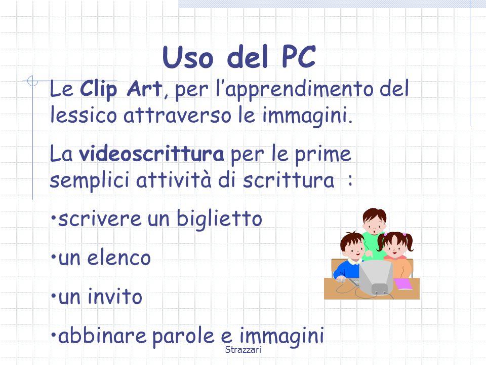 Strazzari Uso del PC Le Clip Art, per l'apprendimento del lessico attraverso le immagini. La videoscrittura per le prime semplici attività di scrittur