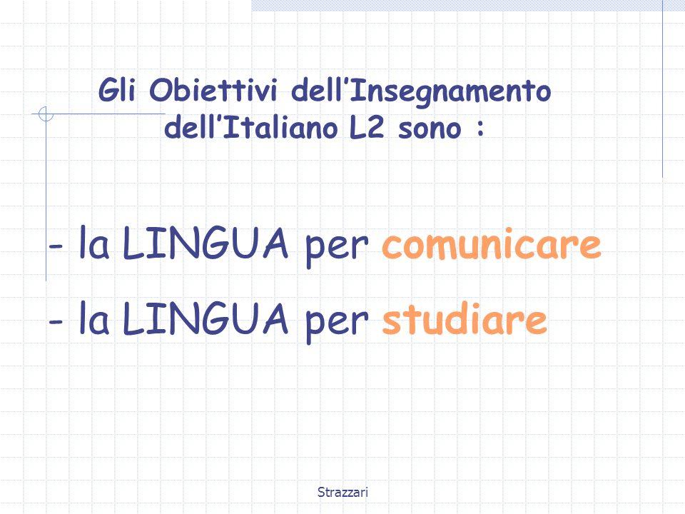 Strazzari Gli Obiettivi dell'Insegnamento dell'Italiano L2 sono : - la LINGUA per comunicare - la LINGUA per studiare