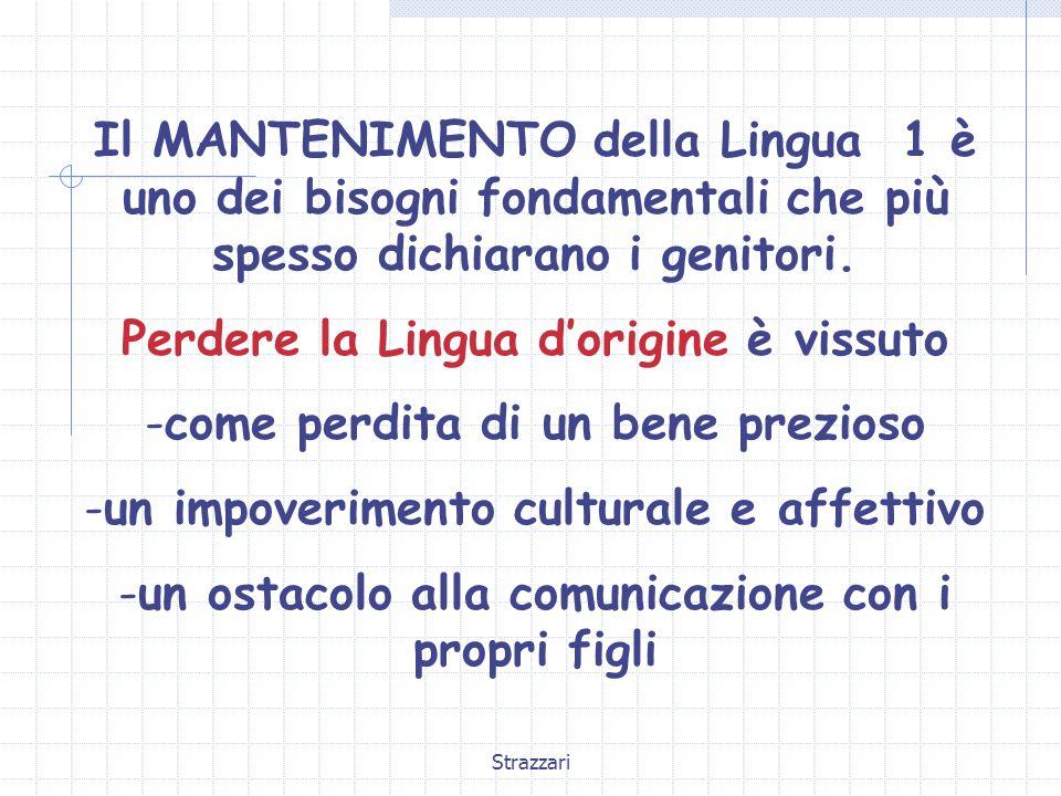 Strazzari Il MANTENIMENTO della Lingua 1 è uno dei bisogni fondamentali che più spesso dichiarano i genitori. Perdere la Lingua d'origine è vissuto -c