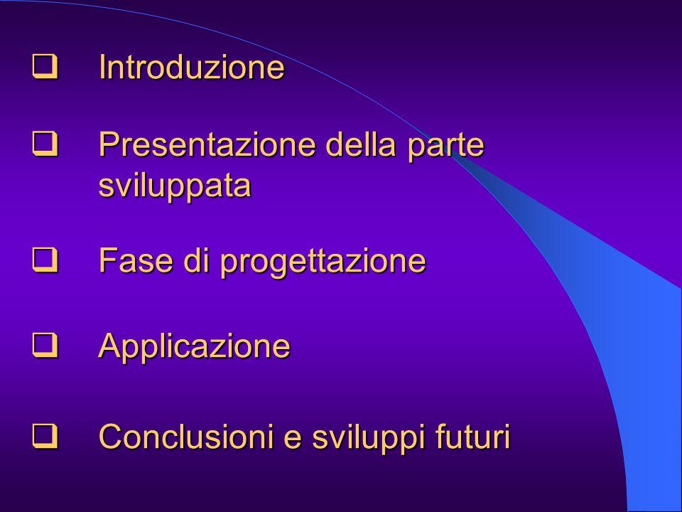  Introduzione  Presentazione della parte sviluppata  Fase di progettazione  Conclusioni e sviluppi futuri  Applicazione