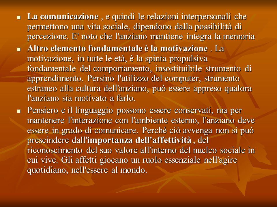 La comunicazione, e quindi le relazioni interpersonali che permettono una vita sociale, dipendono dalla possibilità di percezione. E' noto che l'anzia