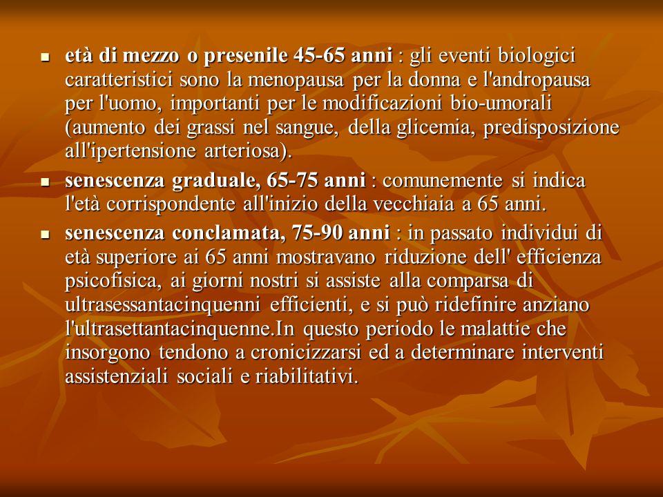 età di mezzo o presenile 45-65 anni : gli eventi biologici caratteristici sono la menopausa per la donna e l'andropausa per l'uomo, importanti per le