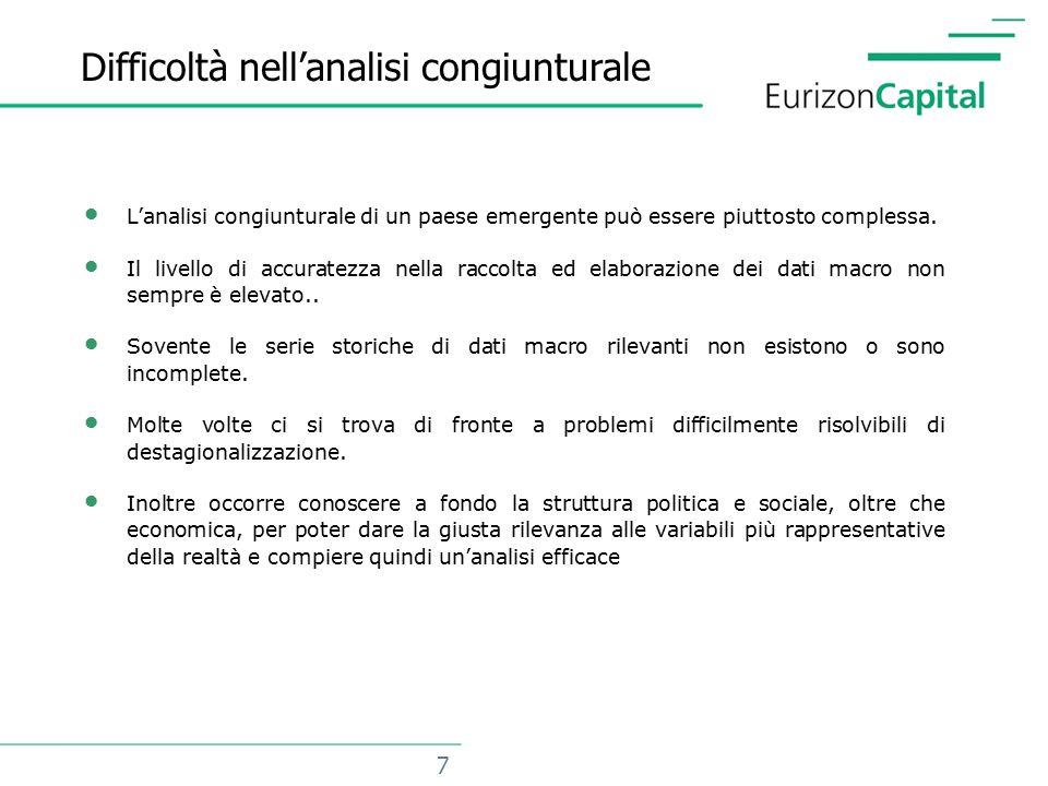 7 Difficoltà nell'analisi congiunturale L'analisi congiunturale di un paese emergente può essere piuttosto complessa.
