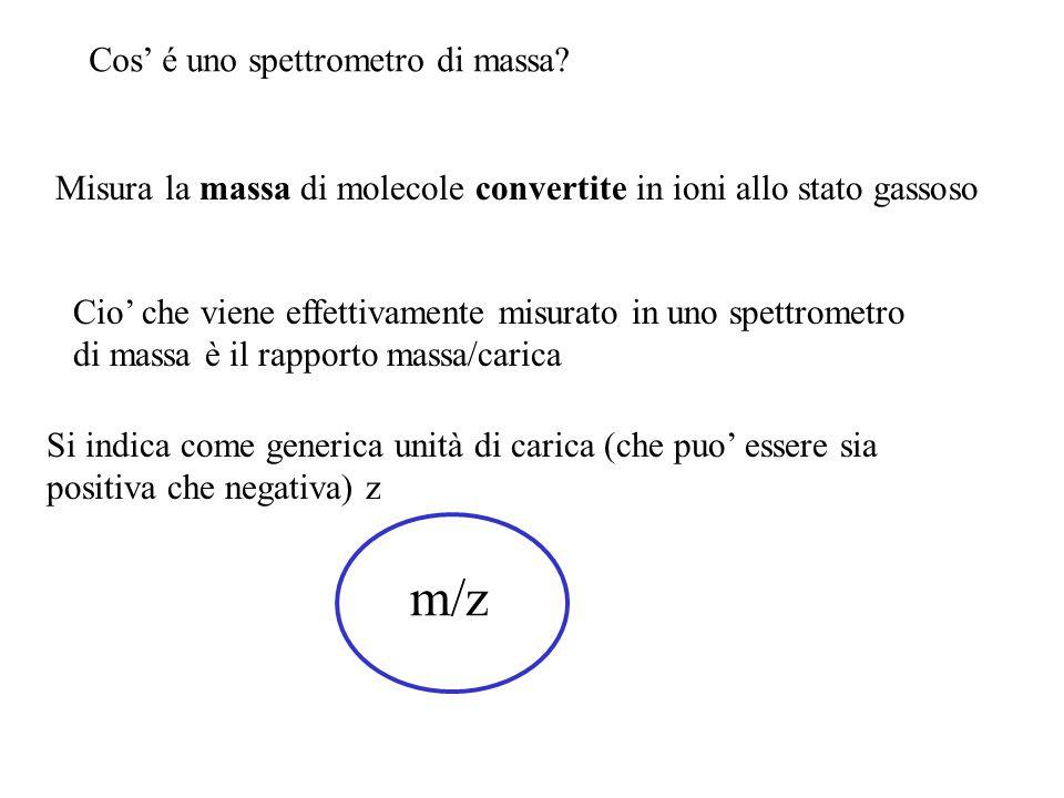 Cos' é uno spettrometro di massa? Misura la massa di molecole convertite in ioni allo stato gassoso Cio' che viene effettivamente misurato in uno spet
