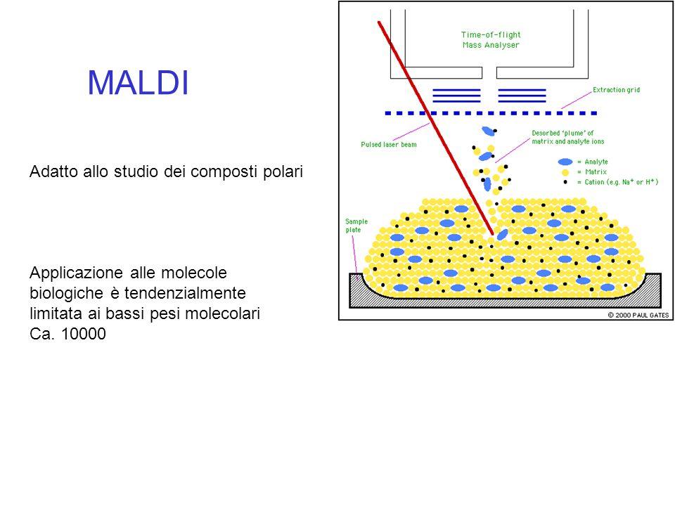 MALDI Adatto allo studio dei composti polari Applicazione alle molecole biologiche è tendenzialmente limitata ai bassi pesi molecolari Ca. 10000
