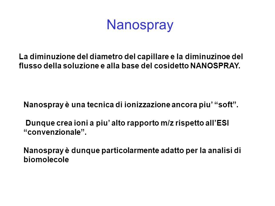 Nanospray La diminuzione del diametro del capillare e la diminuzinoe del flusso della soluzione e alla base del cosidetto NANOSPRAY. Nanospray è una t