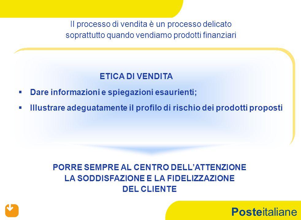 Posteitaliane Il processo di vendita è un processo delicato soprattutto quando vendiamo prodotti finanziari PORRE SEMPRE AL CENTRO DELL'ATTENZIONE LA SODDISFAZIONE E LA FIDELIZZAZIONE DEL CLIENTE ETICA DI VENDITA   Dare informazioni e spiegazioni esaurienti;   Illustrare adeguatamente il profilo di rischio dei prodotti proposti