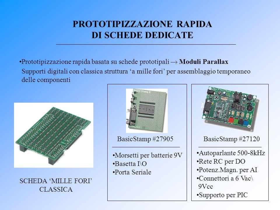 PROTOTIPIZZAZIONE RAPIDA DI SCHEDE DEDICATE Prototipizzazione rapida basata su schede prototipali  Moduli Parallax SCHEDA 'MILLE FORI' CLASSICA Basic