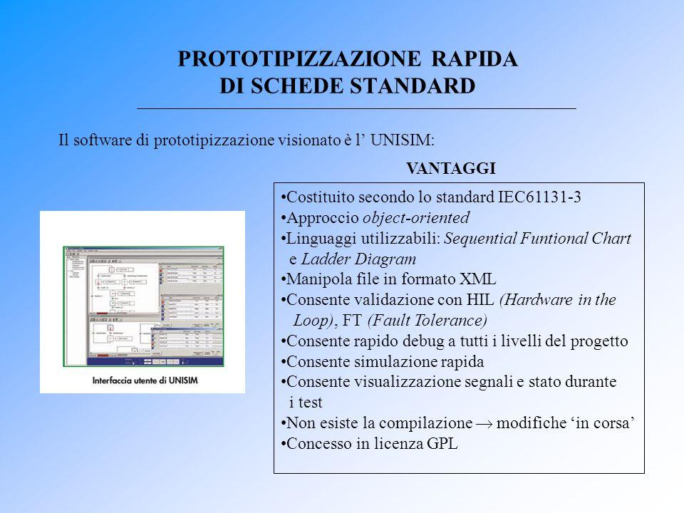 Il software di prototipizzazione visionato è l' UNISIM: PROTOTIPIZZAZIONE RAPIDA DI SCHEDE STANDARD Costituito secondo lo standard IEC61131-3 Approcci
