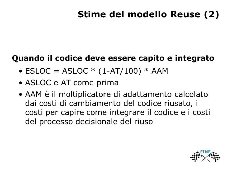 Stime del modello Reuse (2) Quando il codice deve essere capito e integrato ESLOC = ASLOC * (1-AT/100) * AAM ASLOC e AT come prima AAM è il moltiplicatore di adattamento calcolato dai costi di cambiamento del codice riusato, i costi per capire come integrare il codice e i costi del processo decisionale del riuso FINE
