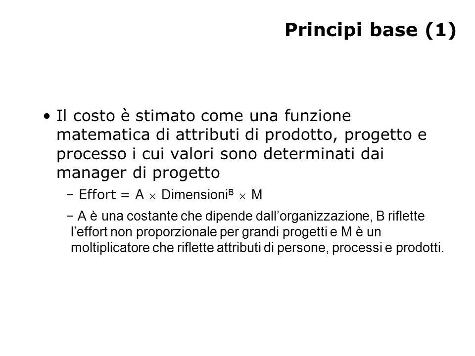 Principi base (1) Il costo è stimato come una funzione matematica di attributi di prodotto, progetto e processo i cui valori sono determinati dai manager di progetto – Effort = A  Dimensioni B  M – A è una costante che dipende dall'organizzazione, B riflette l'effort non proporzionale per grandi progetti e M è un moltiplicatore che riflette attributi di persone, processi e prodotti.