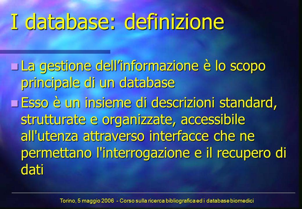 I database: definizione La gestione dell'informazione è lo scopo principale di un database La gestione dell'informazione è lo scopo principale di un d