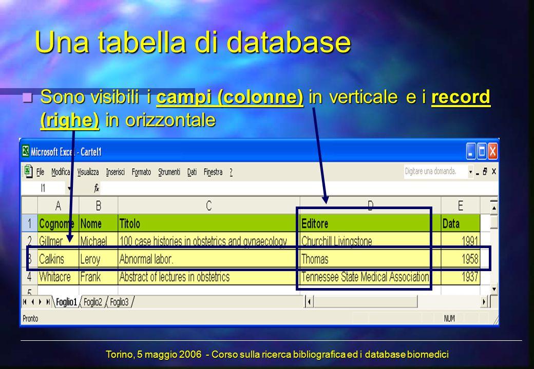 Una tabella di database Sono visibili i campi (colonne) in verticale e i record (righe) in orizzontale Sono visibili i campi (colonne) in verticale e i record (righe) in orizzontale Torino, 5 maggio 2006 - Corso sulla ricerca bibliografica ed i database biomedici