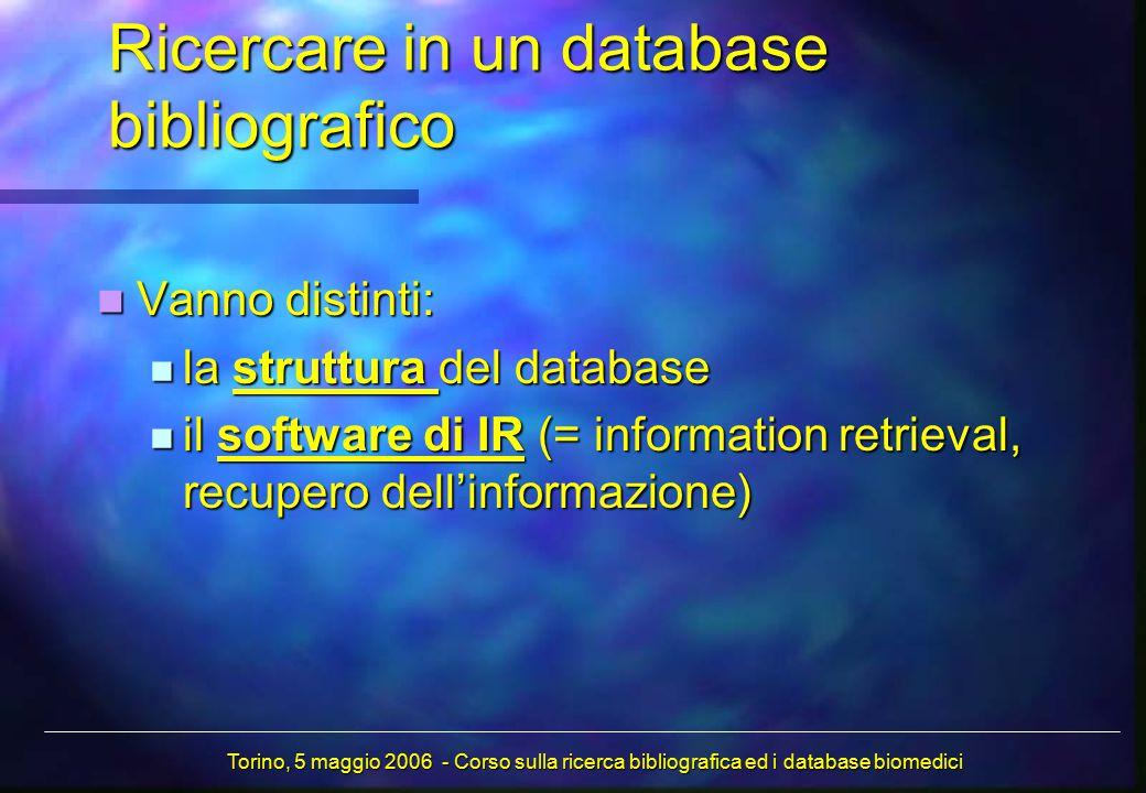 Ricercare in un database bibliografico Vanno distinti: Vanno distinti: la struttura del database la struttura del database il software di IR (= information retrieval, recupero dell'informazione) il software di IR (= information retrieval, recupero dell'informazione) Torino, 5 maggio 2006 - Corso sulla ricerca bibliografica ed i database biomedici