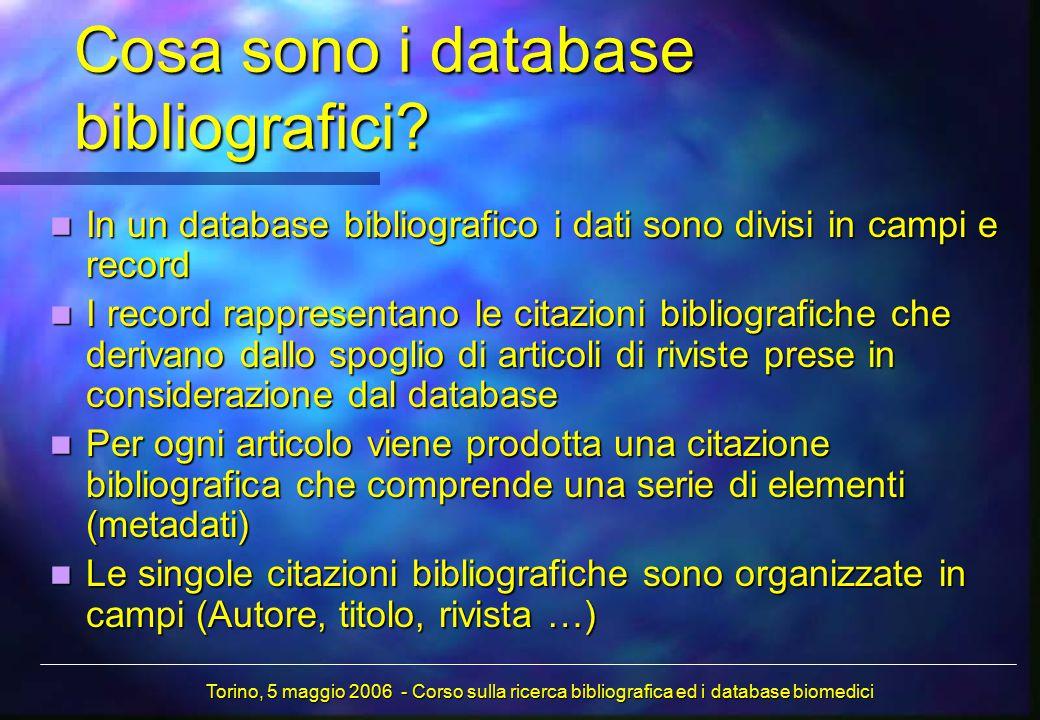 Cosa sono i database bibliografici? In un database bibliografico i dati sono divisi in campi e record In un database bibliografico i dati sono divisi