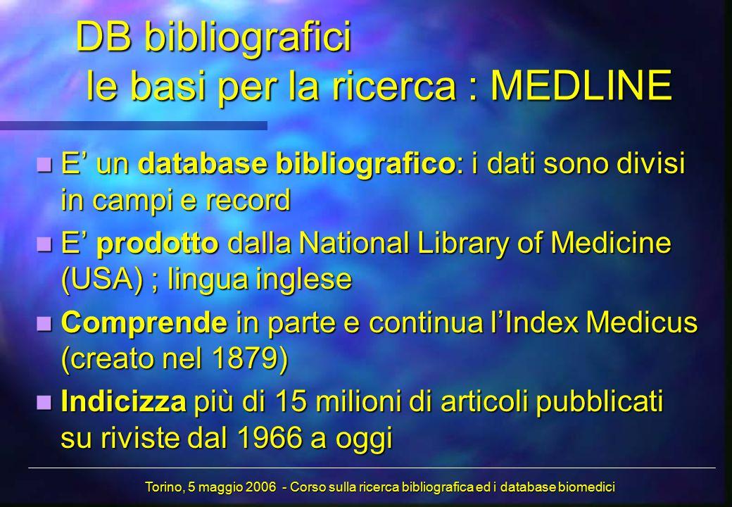 DB bibliografici le basi per la ricerca : MEDLINE E' un database bibliografico: i dati sono divisi in campi e record E' un database bibliografico: i dati sono divisi in campi e record E' prodotto dalla National Library of Medicine (USA) ; lingua inglese E' prodotto dalla National Library of Medicine (USA) ; lingua inglese Comprende in parte e continua l'Index Medicus (creato nel 1879) Comprende in parte e continua l'Index Medicus (creato nel 1879) Indicizza più di 15 milioni di articoli pubblicati su riviste dal 1966 a oggi Indicizza più di 15 milioni di articoli pubblicati su riviste dal 1966 a oggi Torino, 5 maggio 2006 - Corso sulla ricerca bibliografica ed i database biomedici