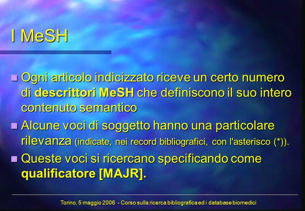 Ogni articolo indicizzato riceve un certo numero di descrittori MeSH che definiscono il suo intero contenuto semantico Ogni articolo indicizzato ricev