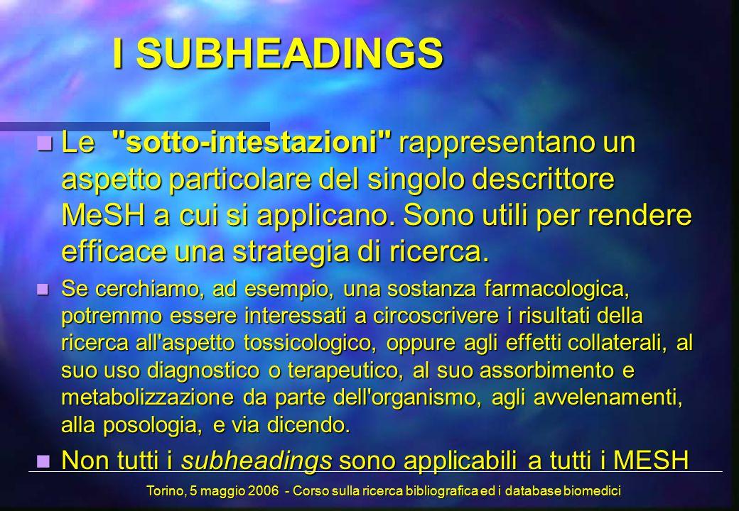I SUBHEADINGS Le sotto-intestazioni rappresentano un aspetto particolare del singolo descrittore MeSH a cui si applicano.