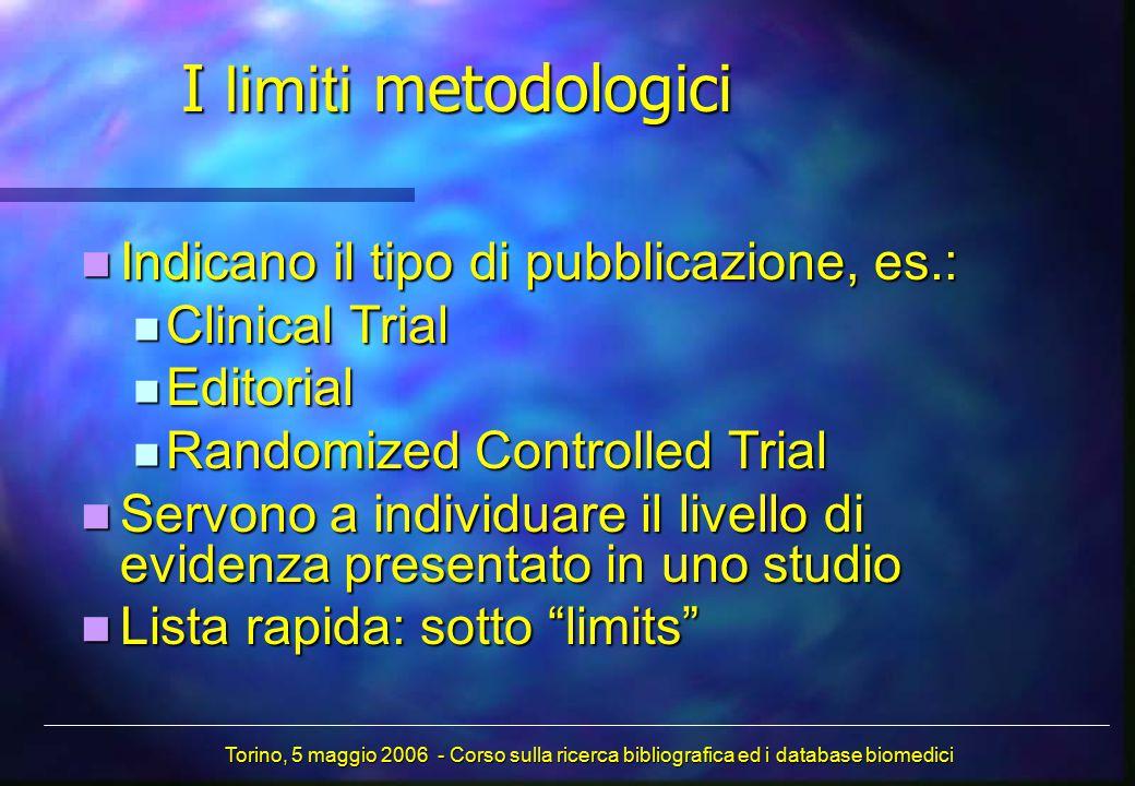 I limiti metodologici Indicano il tipo di pubblicazione, es.: Indicano il tipo di pubblicazione, es.: Clinical Trial Clinical Trial Editorial Editoria