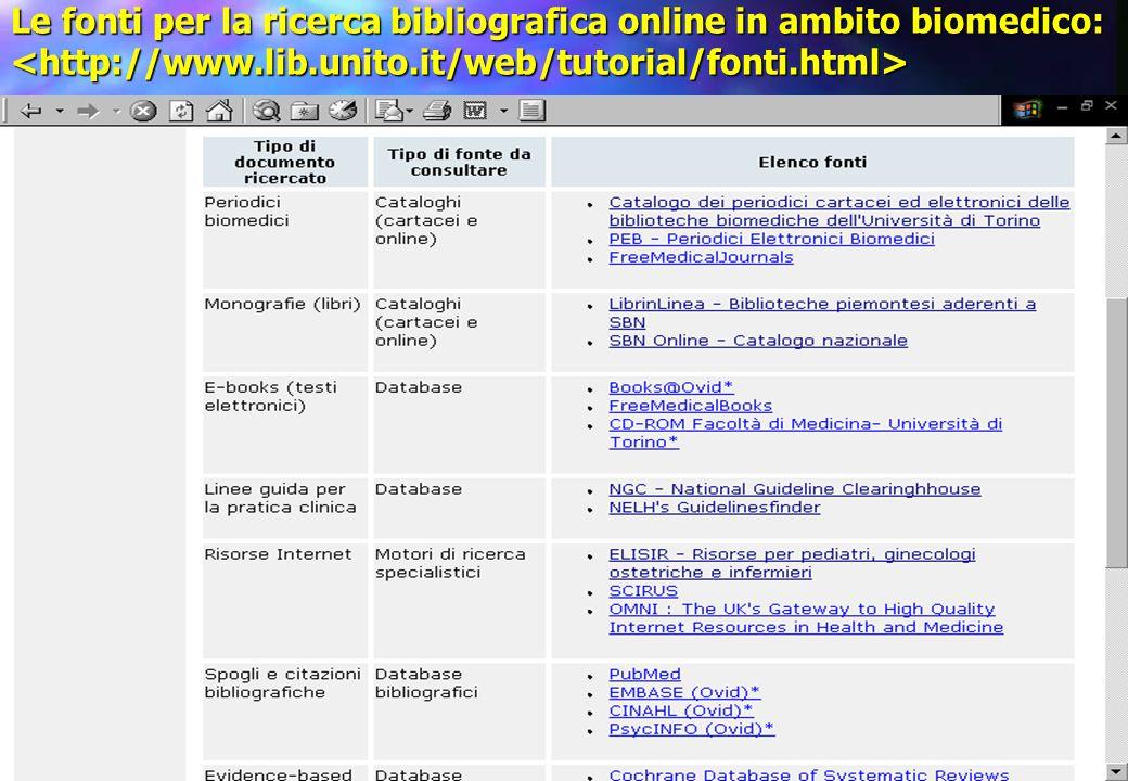 Le fonti per la ricerca bibliografica online in ambito biomedico: Le fonti per la ricerca bibliografica online in ambito biomedico: