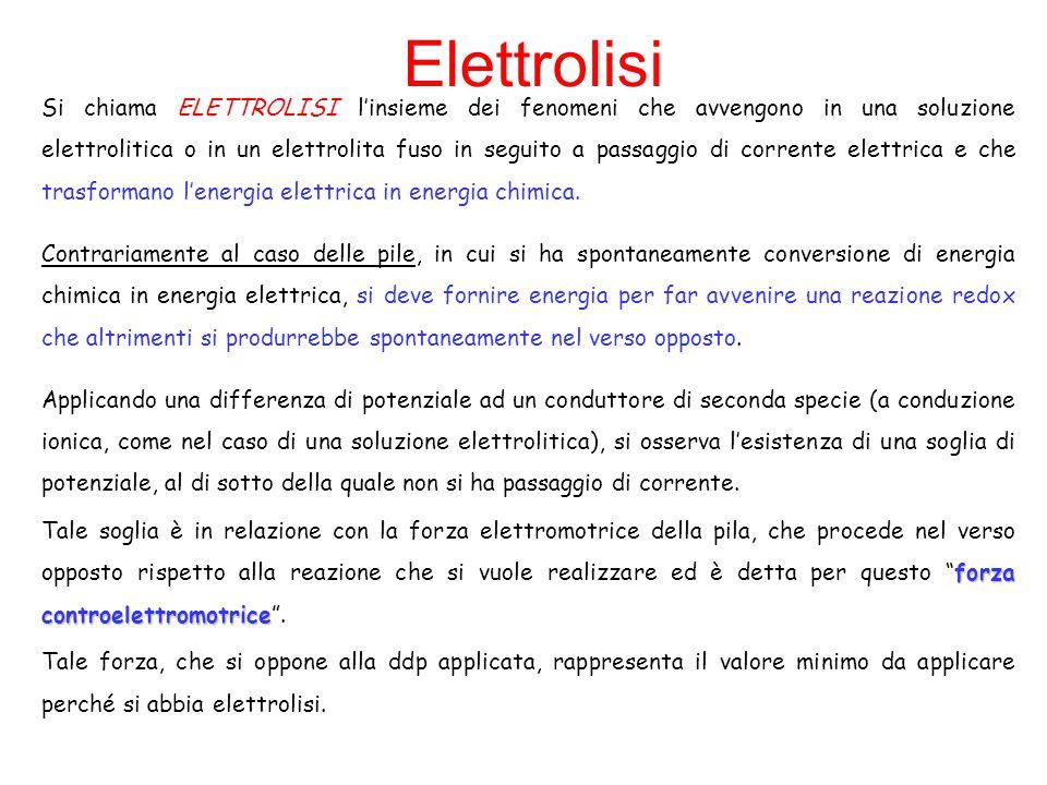 Elettrolisi Si chiama ELETTROLISI l'insieme dei fenomeni che avvengono in una soluzione elettrolitica o in un elettrolita fuso in seguito a passaggio