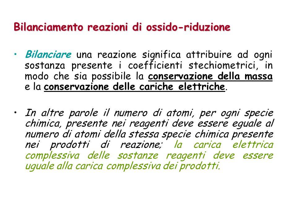 Bilanciamento reazioni di ossido-riduzione Bilanciare una reazione significa attribuire ad ogni sostanza presente i coefficienti stechiometrici, in mo