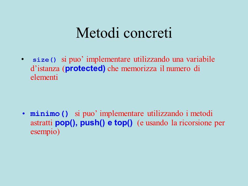 Metodi concreti size() si puo' implementare utilizzando una variabile d'istanza ( protected) che memorizza il numero di elementi minimo() si puo' implementare utilizzando i metodi astratti pop(), push() e top() (e usando la ricorsione per esempio)