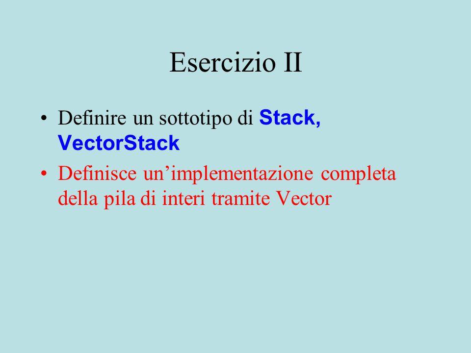 Esercizio II Definire un sottotipo di Stack, VectorStack Definisce un'implementazione completa della pila di interi tramite Vector