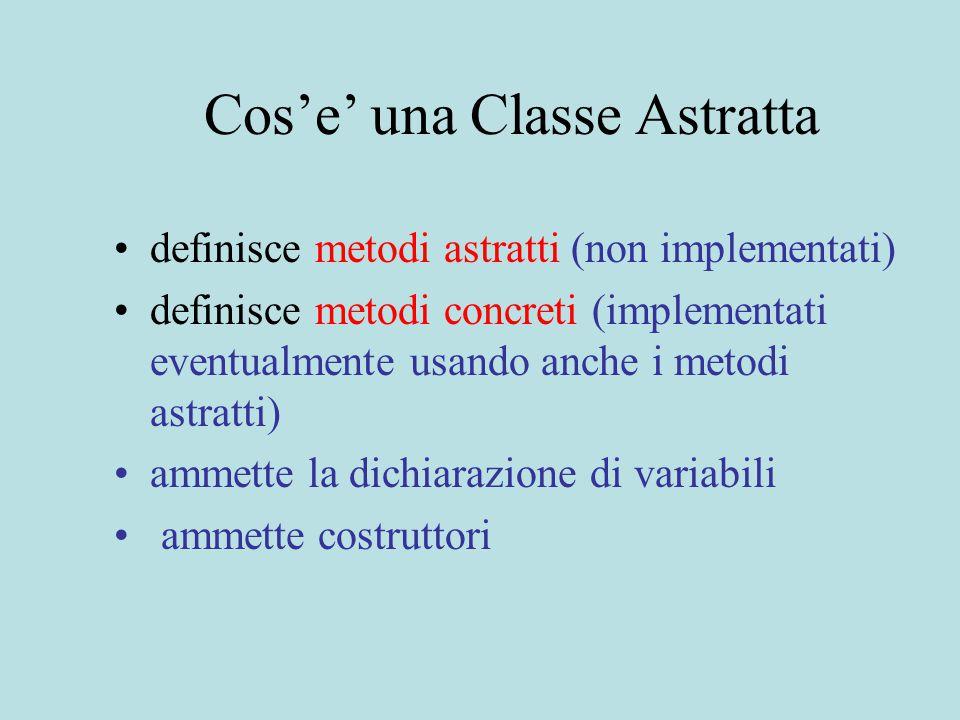 Cos'e' una Classe Astratta definisce metodi astratti (non implementati) definisce metodi concreti (implementati eventualmente usando anche i metodi astratti) ammette la dichiarazione di variabili ammette costruttori
