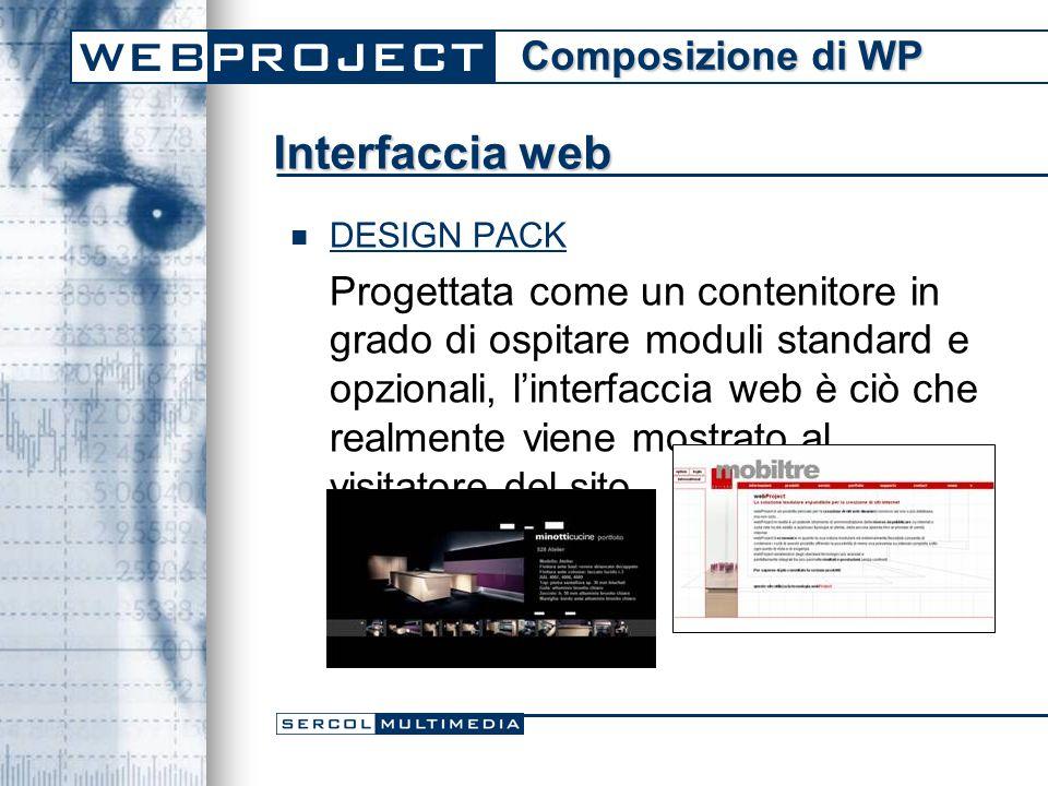 Interfaccia web DESIGN PACK Progettata come un contenitore in grado di ospitare moduli standard e opzionali, l'interfaccia web è ciò che realmente viene mostrato al visitatore del sito.