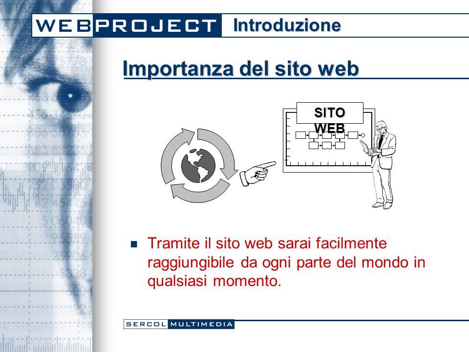 Importanza del sito web Tramite il sito web sarai facilmente raggiungibile da ogni parte del mondo in qualsiasi momento.