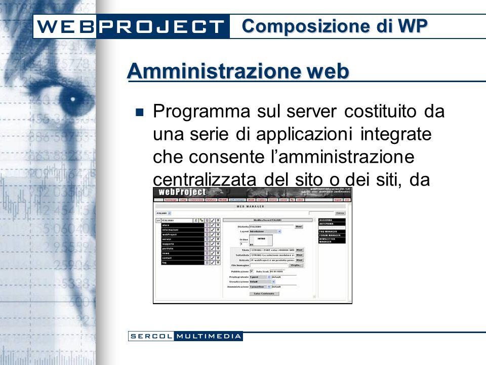 Amministrazione web Programma sul server costituito da una serie di applicazioni integrate che consente l'amministrazione centralizzata del sito o dei siti, da postazioni remote.