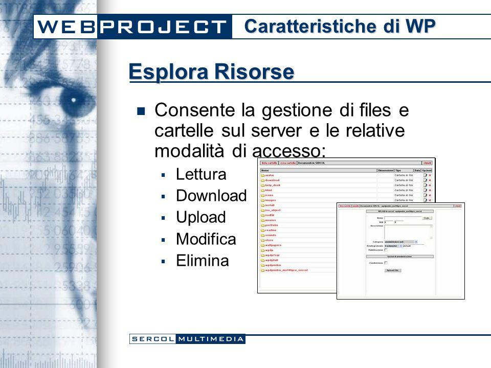 Consente la gestione di files e cartelle sul server e le relative modalità di accesso:  Lettura  Download  Upload  Modifica  Elimina Esplora Risorse Caratteristiche di WP