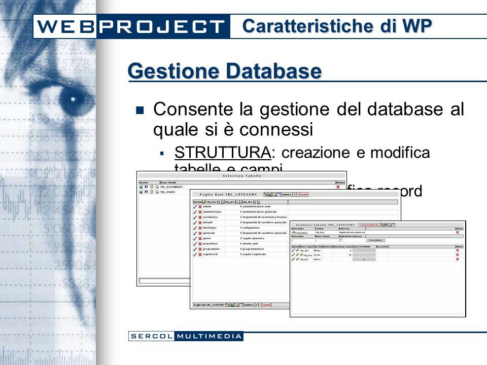 Gestione Database Consente la gestione del database al quale si è connessi  STRUTTURA: creazione e modifica tabelle e campi  DATI: Creazione e modifica record Caratteristiche di WP