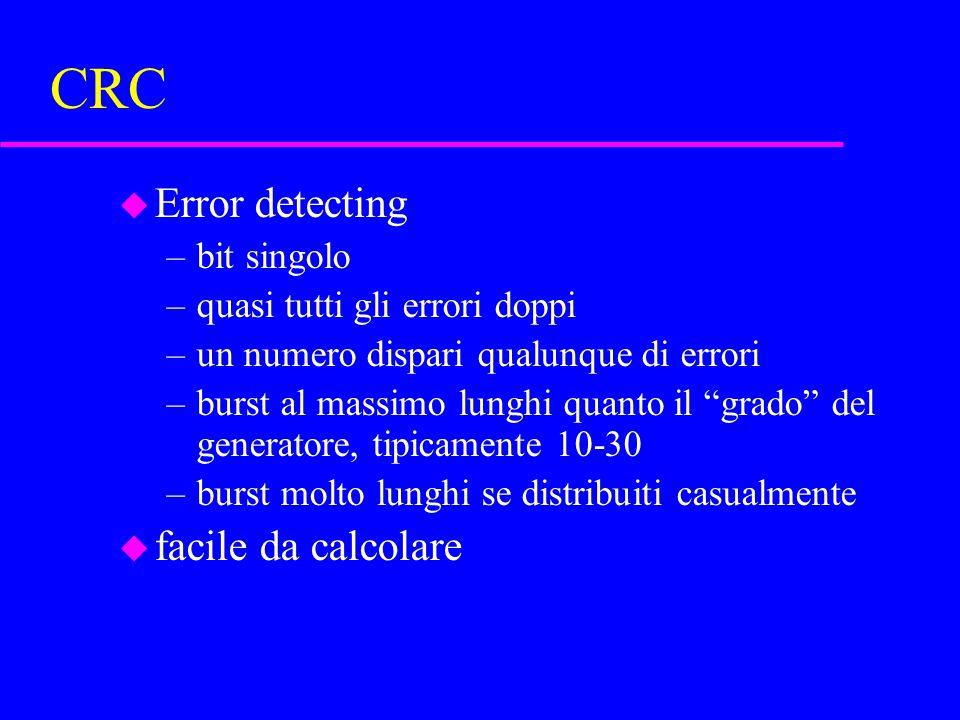 CRC u Error detecting –bit singolo –quasi tutti gli errori doppi –un numero dispari qualunque di errori –burst al massimo lunghi quanto il grado del generatore, tipicamente 10-30 –burst molto lunghi se distribuiti casualmente u facile da calcolare