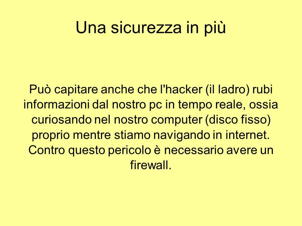 Una sicurezza in più Può capitare anche che l'hacker (il ladro) rubi informazioni dal nostro pc in tempo reale, ossia curiosando nel nostro computer (