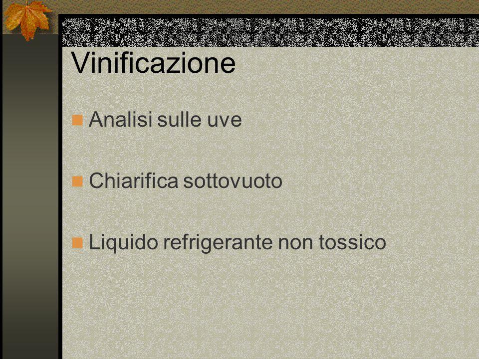 Vinificazione Analisi sulle uve Chiarifica sottovuoto Liquido refrigerante non tossico