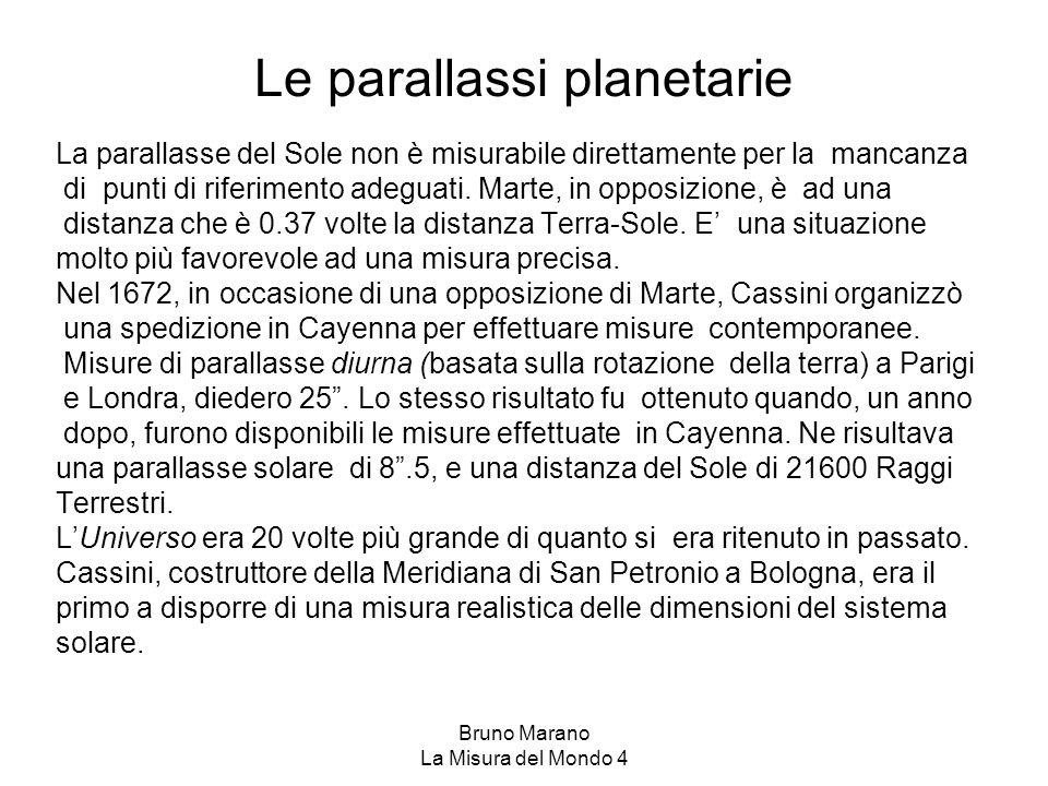 Bruno Marano La Misura del Mondo 4 Le parallassi planetarie La parallasse del Sole non è misurabile direttamente per la mancanza di punti di riferimen