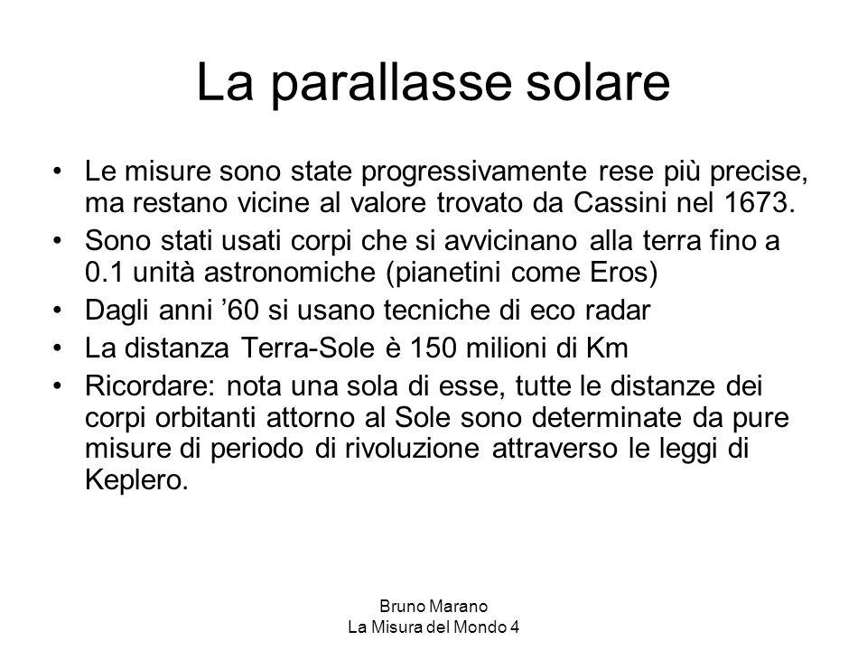 Bruno Marano La Misura del Mondo 4 Leggi di Keplero 1) I pianeti si muovono lungo orbite ellittiche di cui il Sole occupa uno dei fuochi; 2) I raggi vettori congiungenti i pianeti al centro del Sole descrivono aree uguali in tempi uguali; 3) I quadrati dei tempi di rivoluzione sono proporzionali ai cubi dei semiassi maggiori dell'orbita (1), (2) (3)